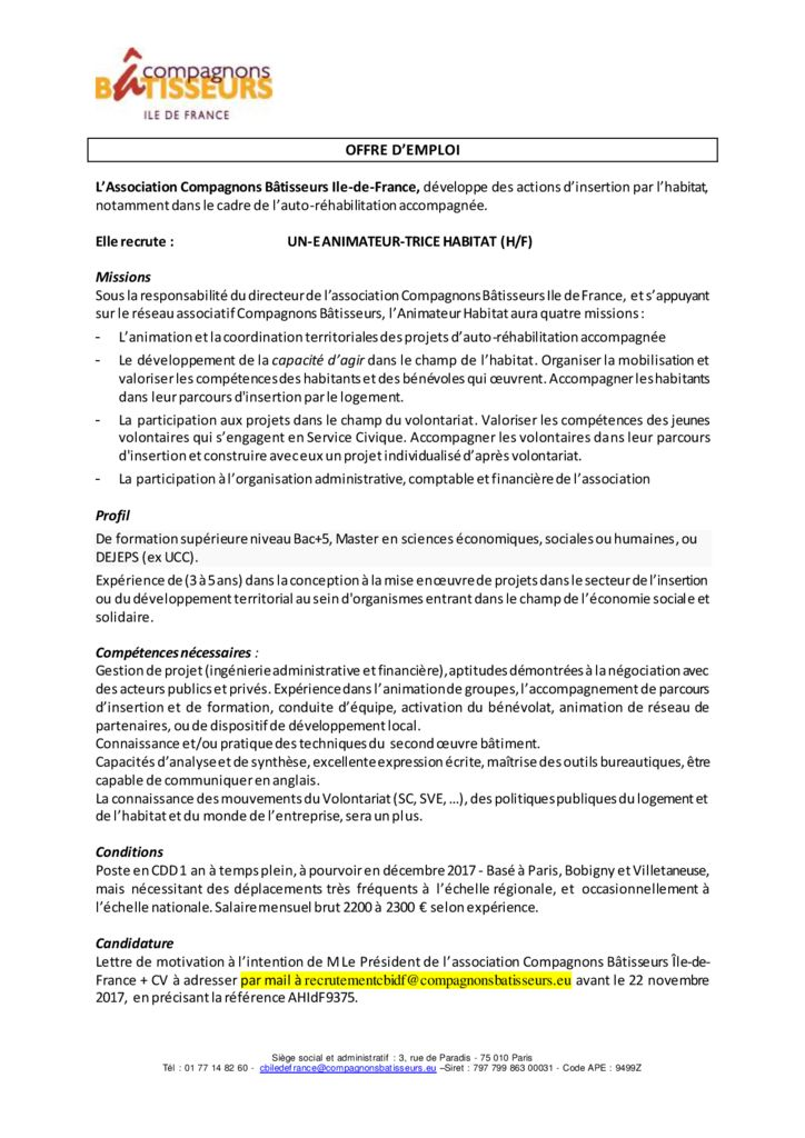 Offre Emploi Ah 2017 10 9375 Oikos Ecoconstruction Oikos